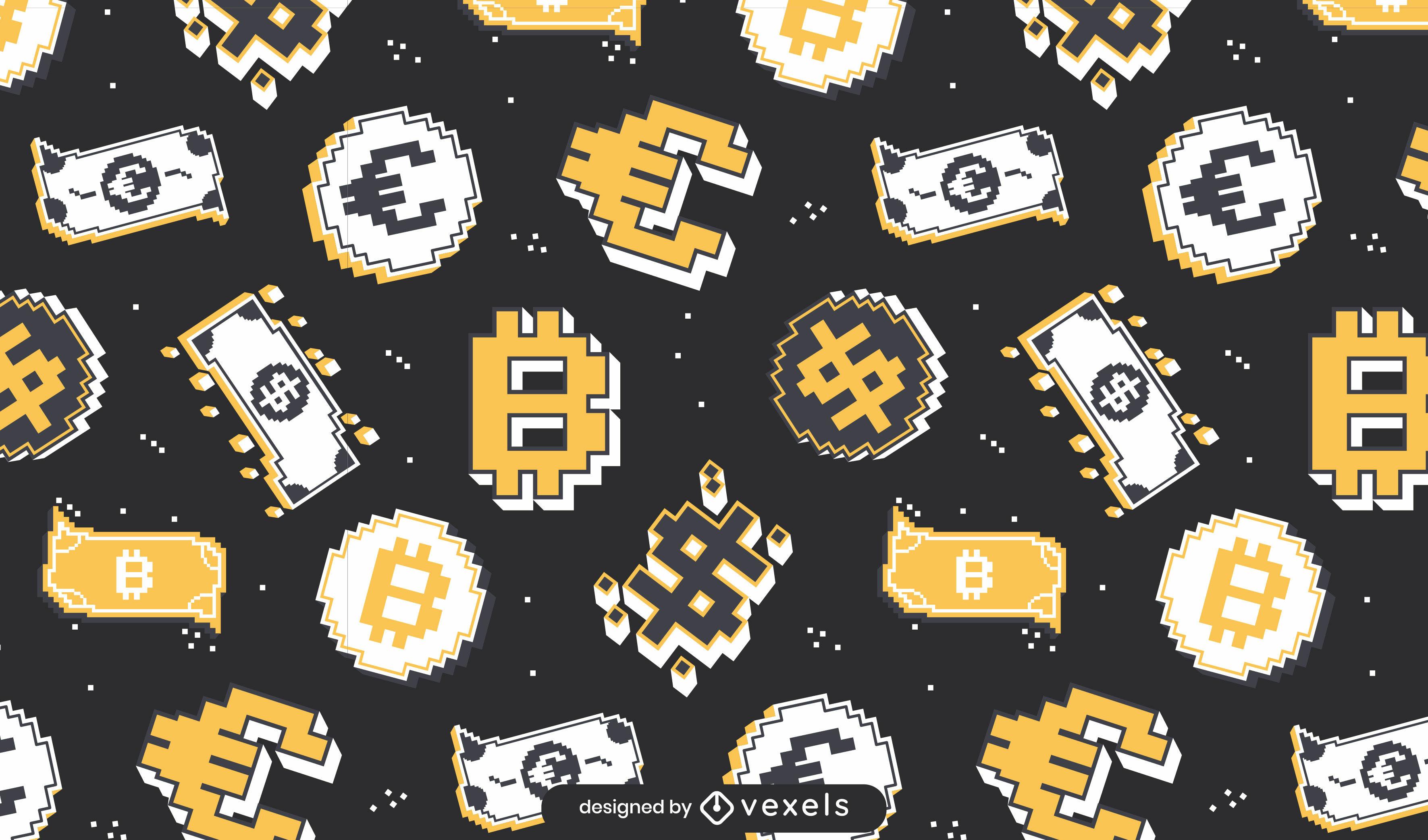 Projeto de padrão de pixel de moeda de dinheiro