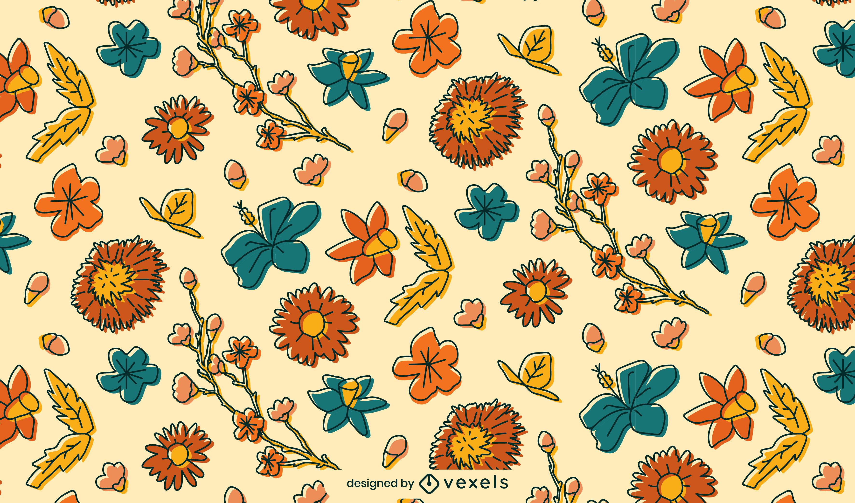 Beautiful floral pattern design color stroke