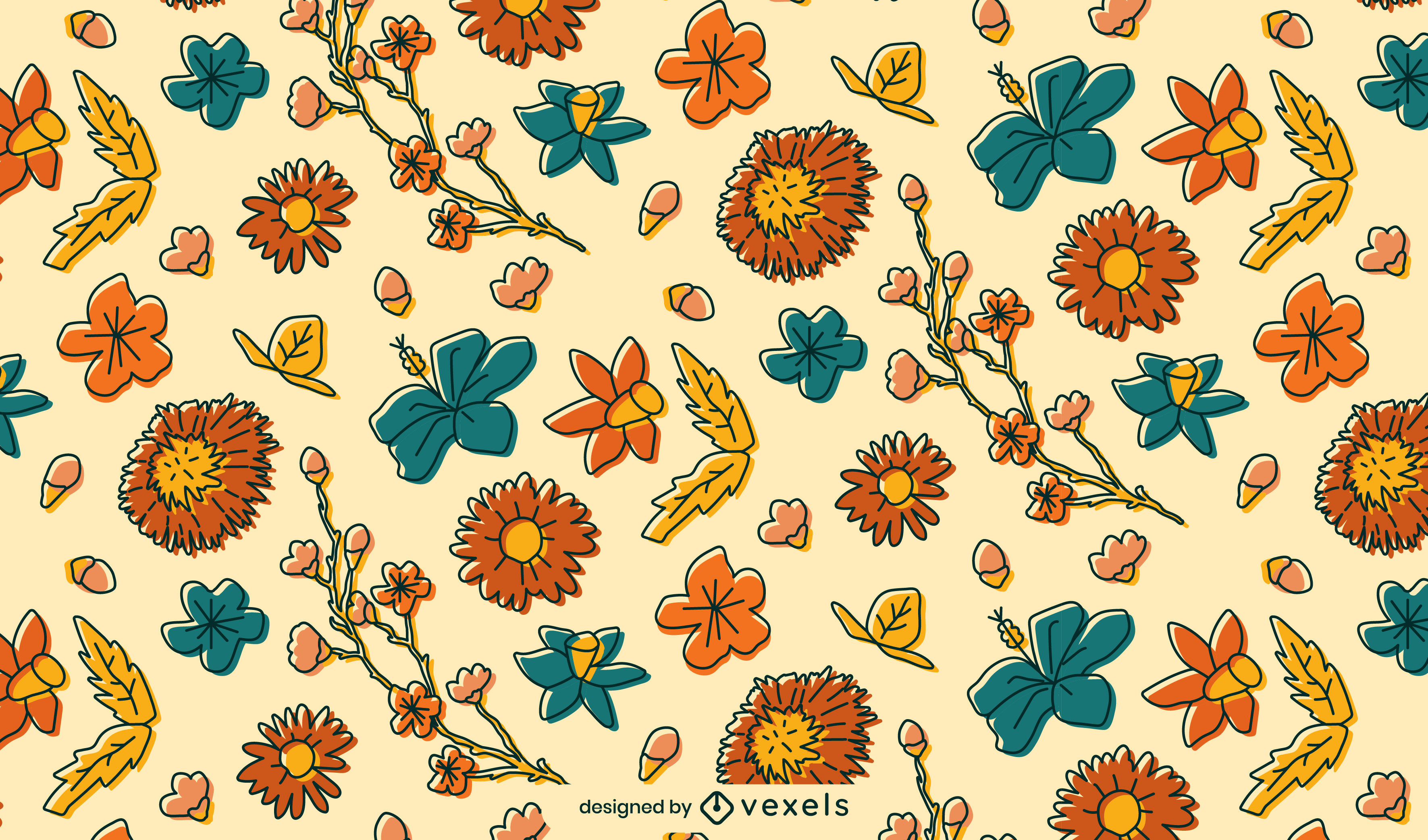 Hermoso trazo de color de diseño de patrón floral