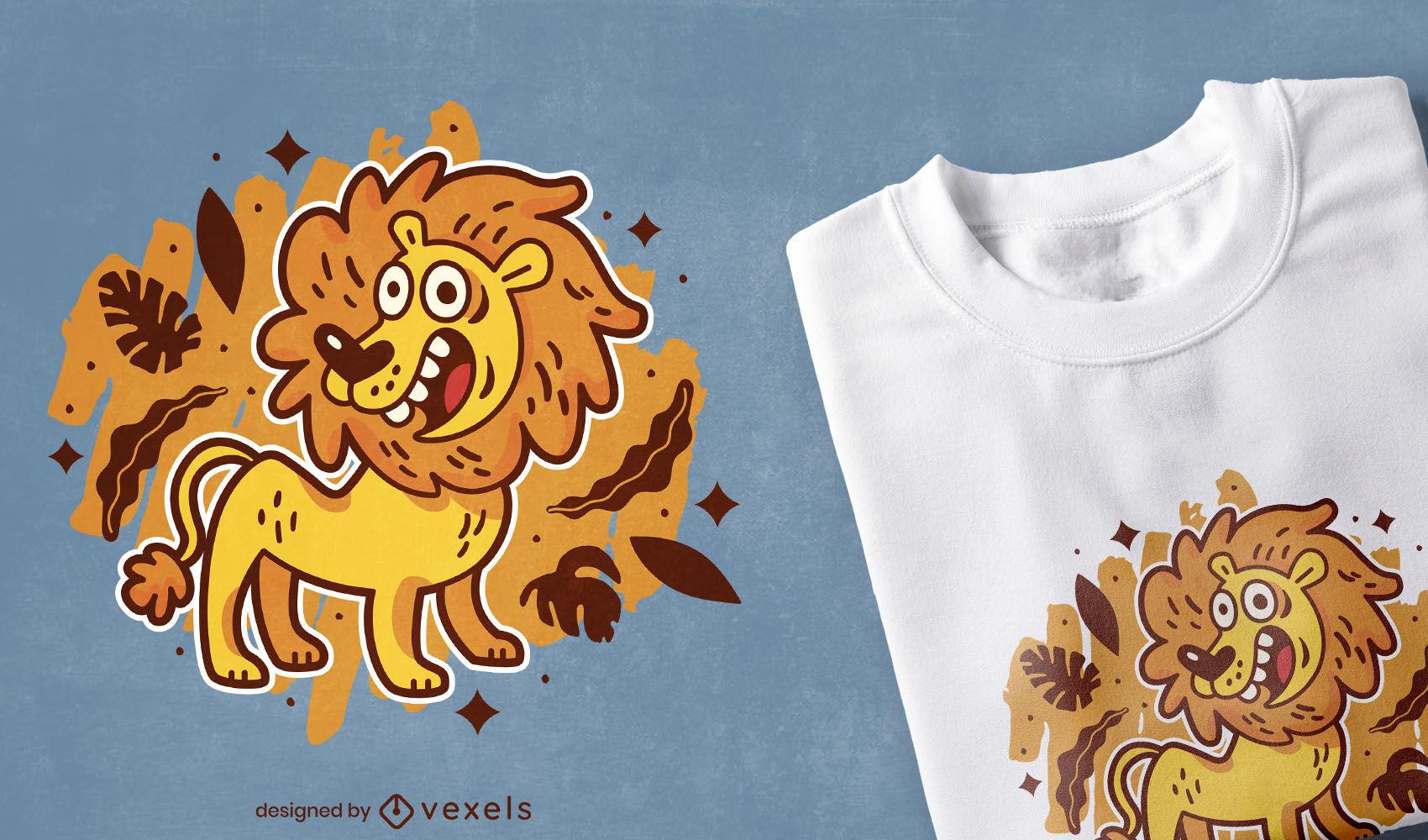 Diseño de camiseta de animal salvaje león de dibujos animados