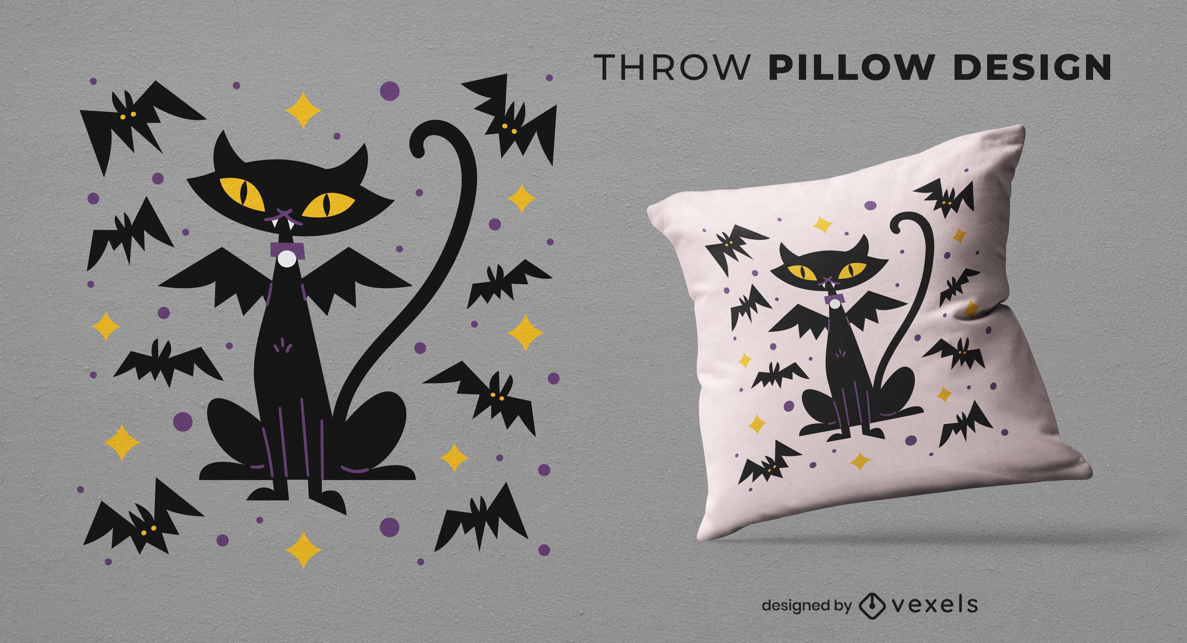 Design de travesseiro decorativo de Halloween para gato vampiro