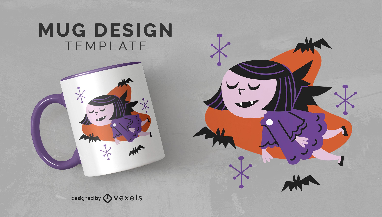 Vintage vampire girl flat mug design