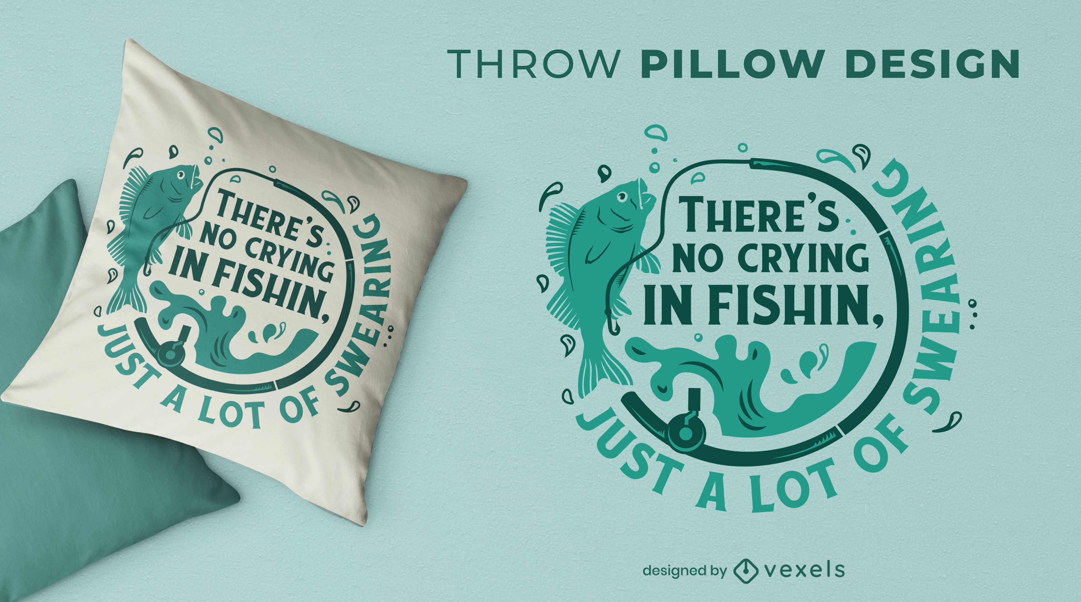 Funny fishing throw pillow design