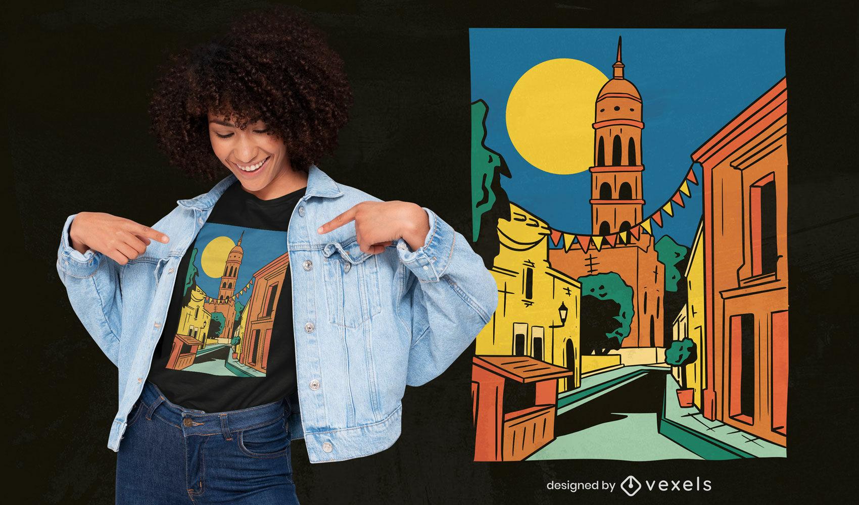 Dise?o de camiseta de paisaje del estado de Sinaloa.