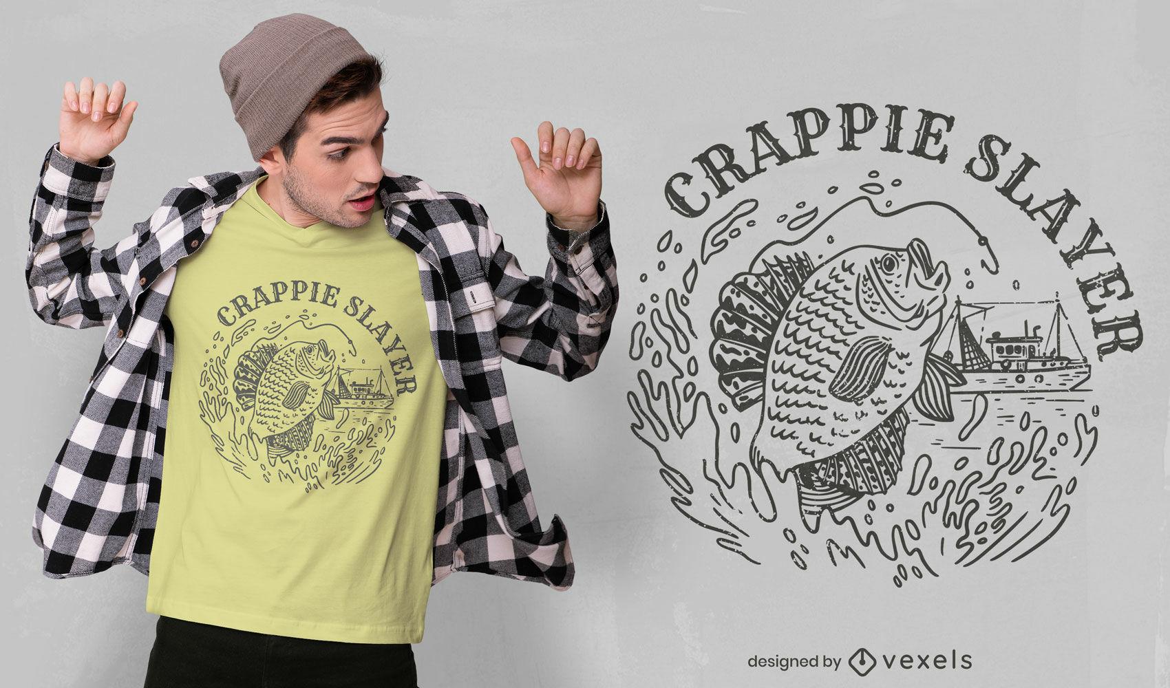 Diseño de camiseta de pesca crappie slayer