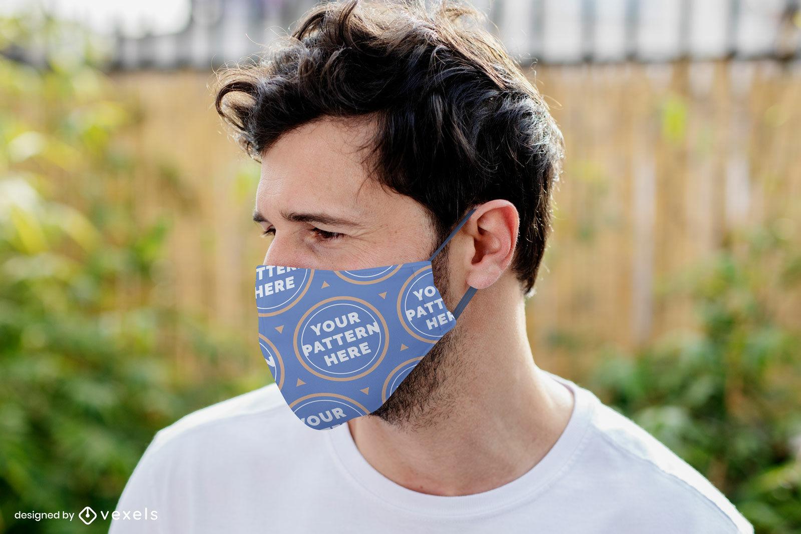 Man in garden face mask mockup design