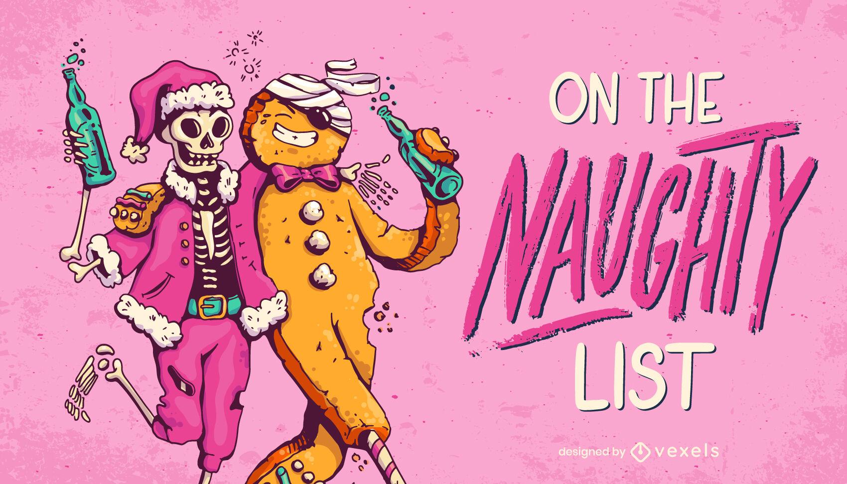 Cool naughty list Christmas illustration design