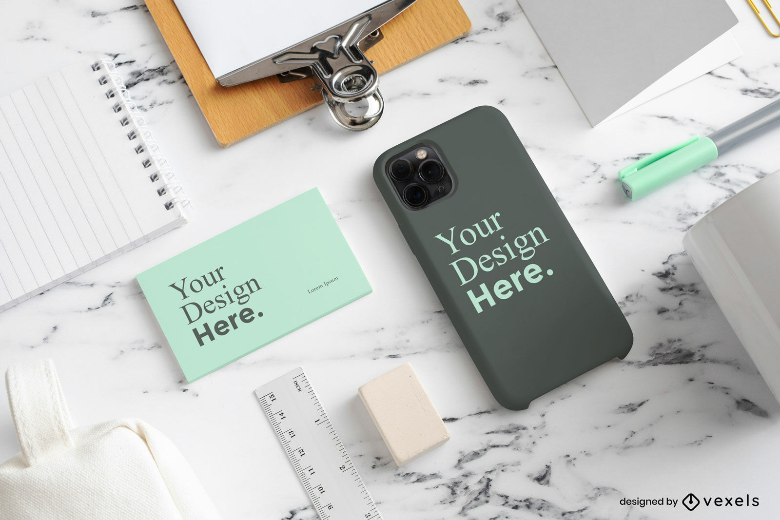 Office business card phone case mockup