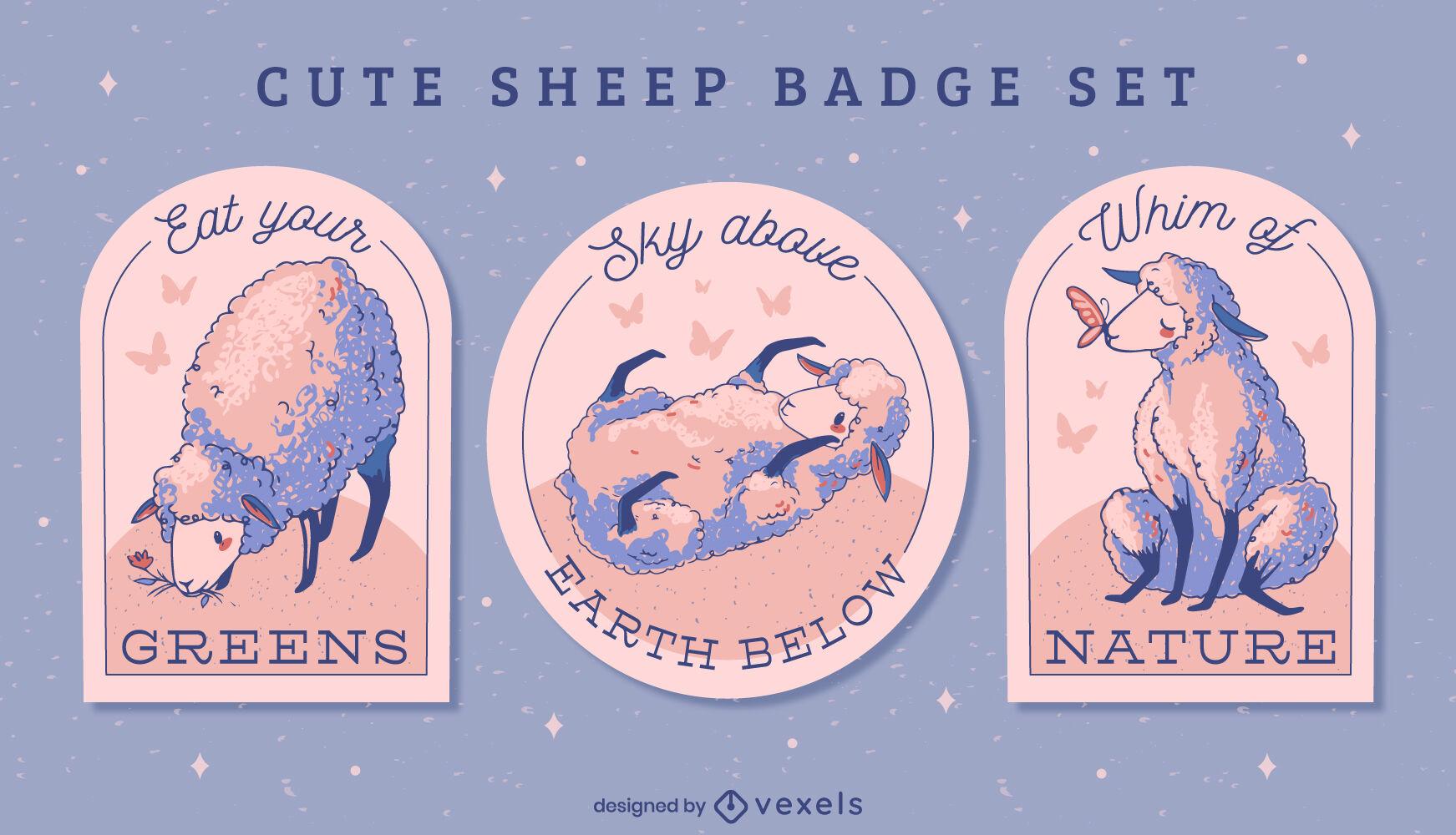 Niedliche Schaf-Abzeichen-Illustrationen-Set