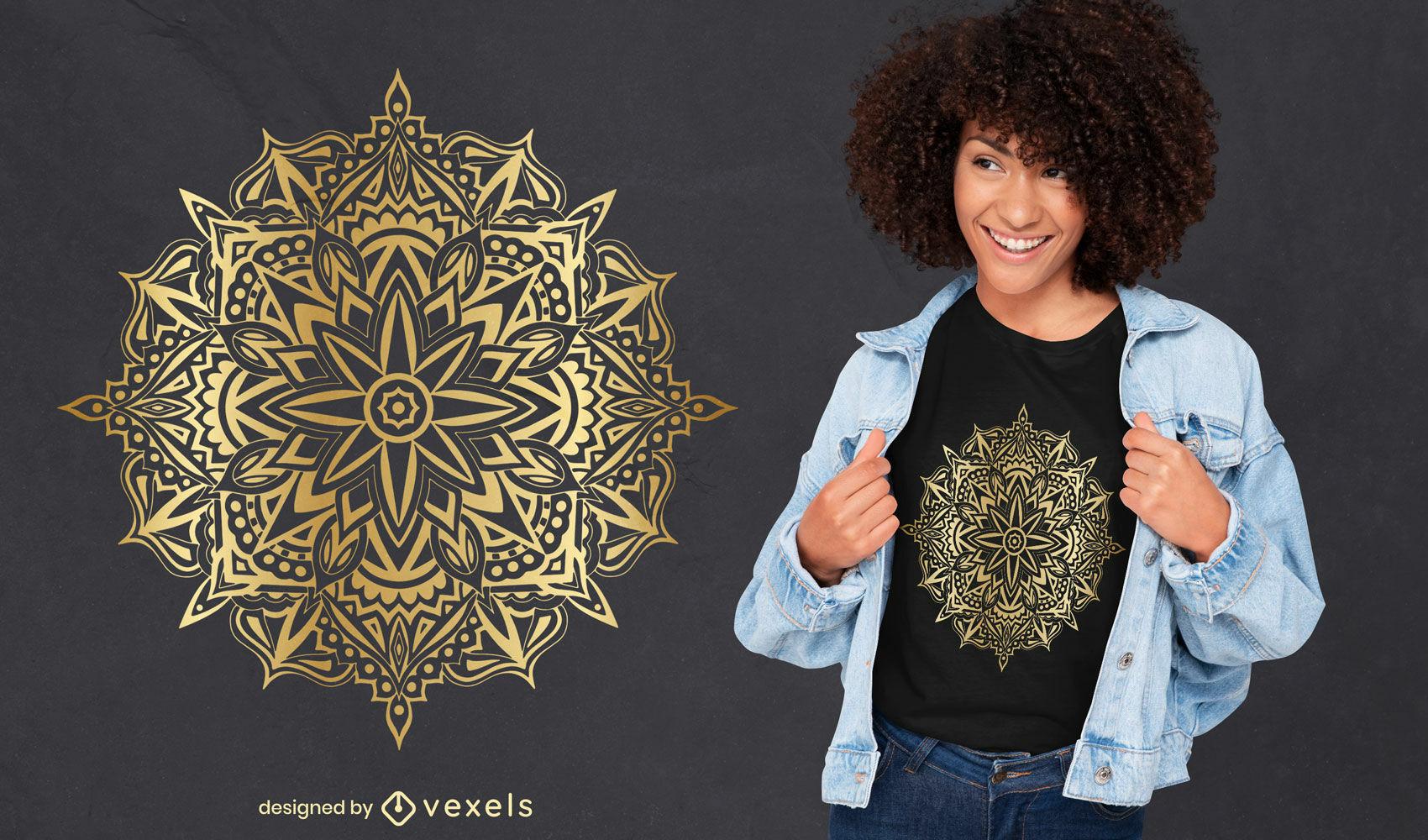 Hermoso diseño de camiseta de mandala dorado.