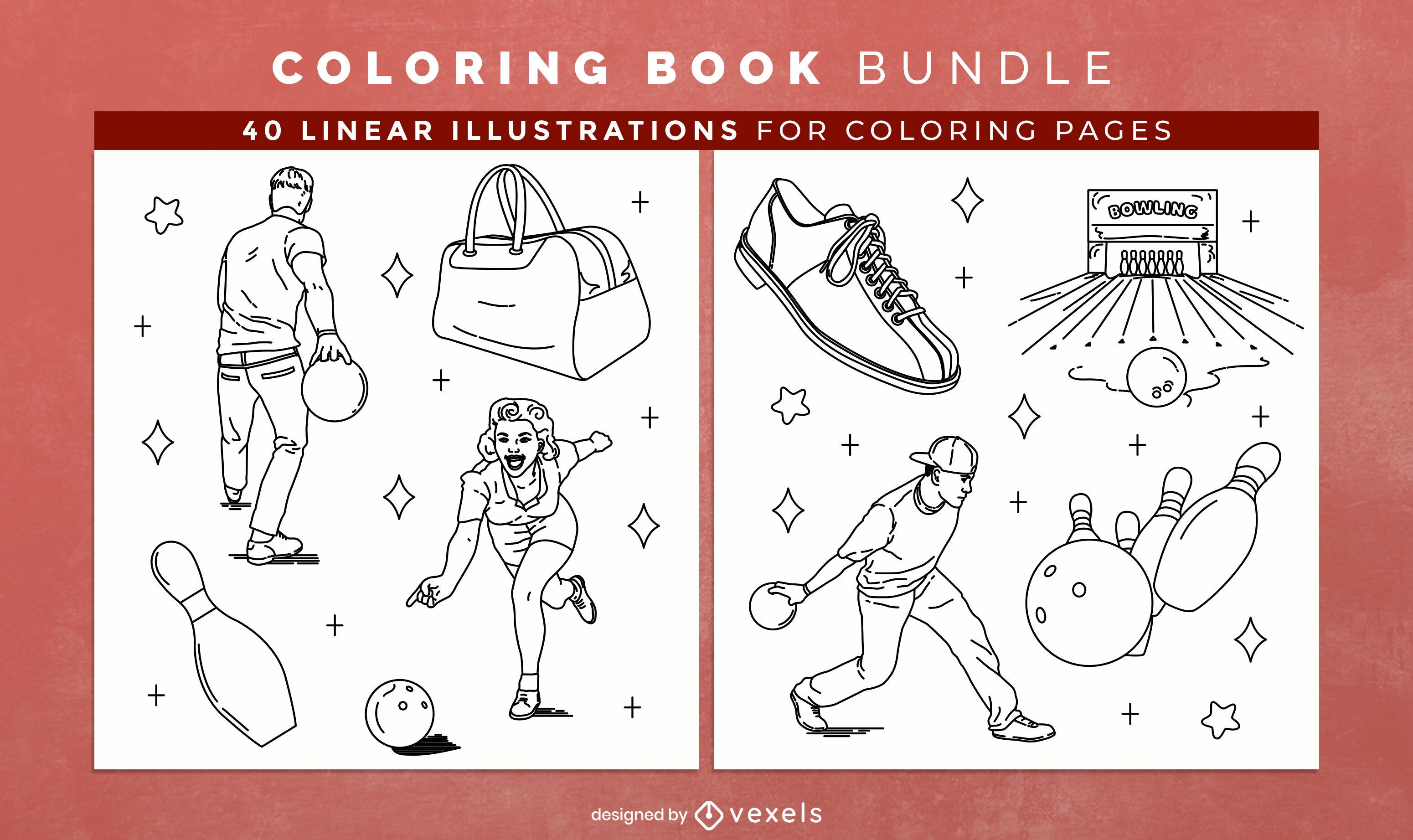 Bowling Coloring Book KDP Interior Design