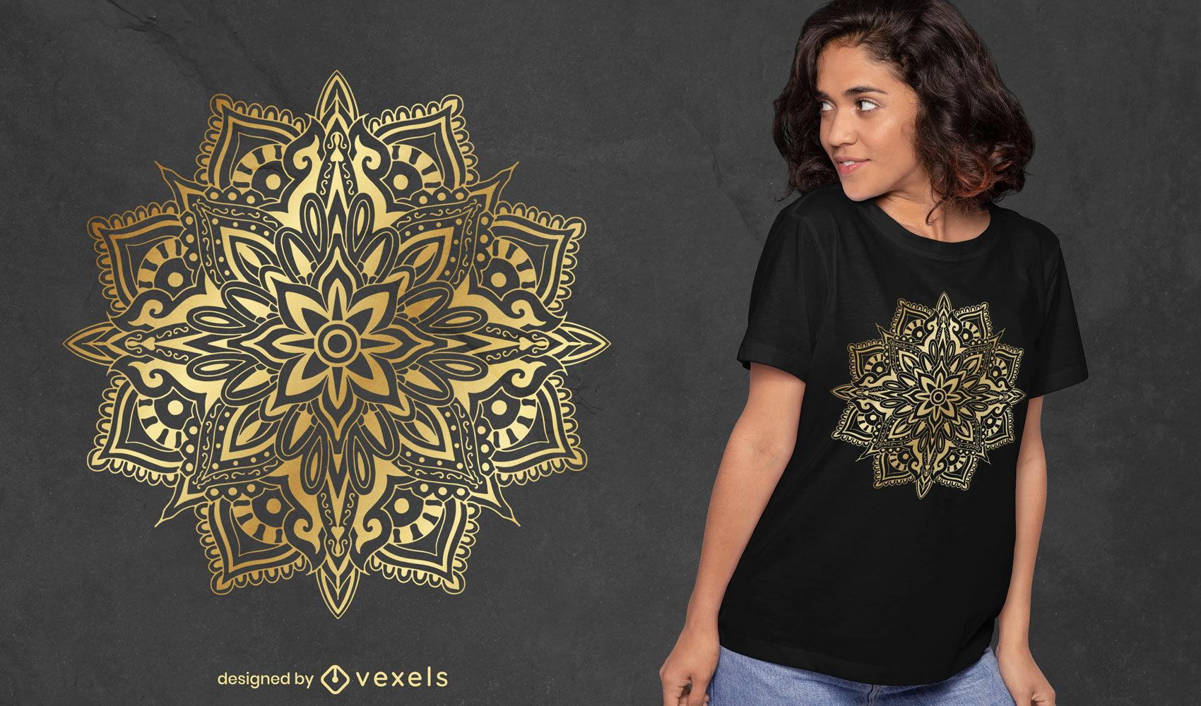 Diseño de camiseta floral mandala.
