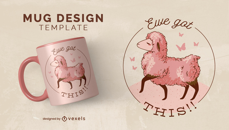Elegante diseño de taza de animales de granja de ovejas.