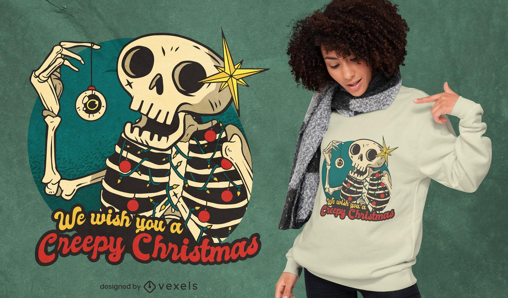 Camiseta esqueleto navidad dibujos animados deisgn