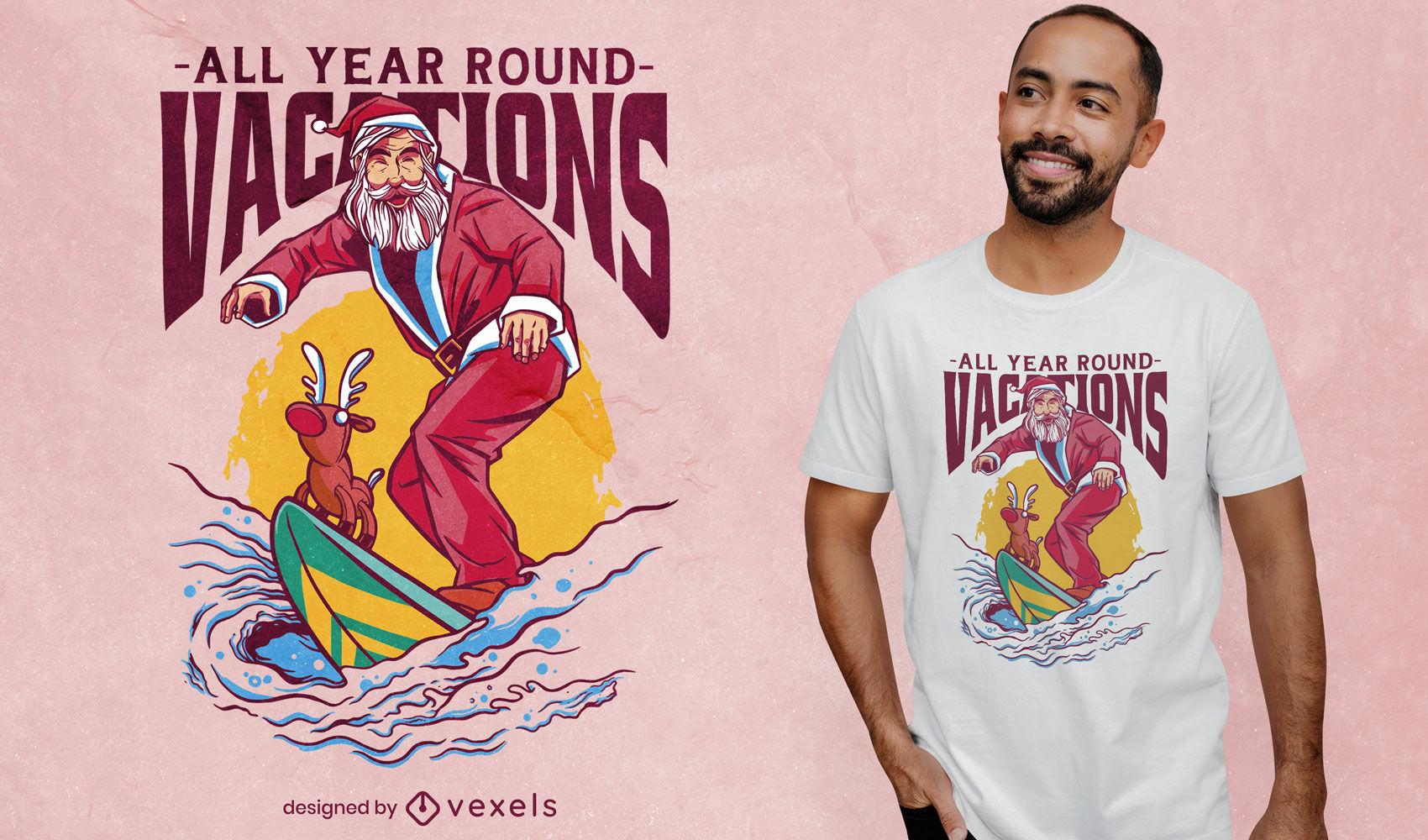 Diseño de camiseta de surf de navidad de santa claus