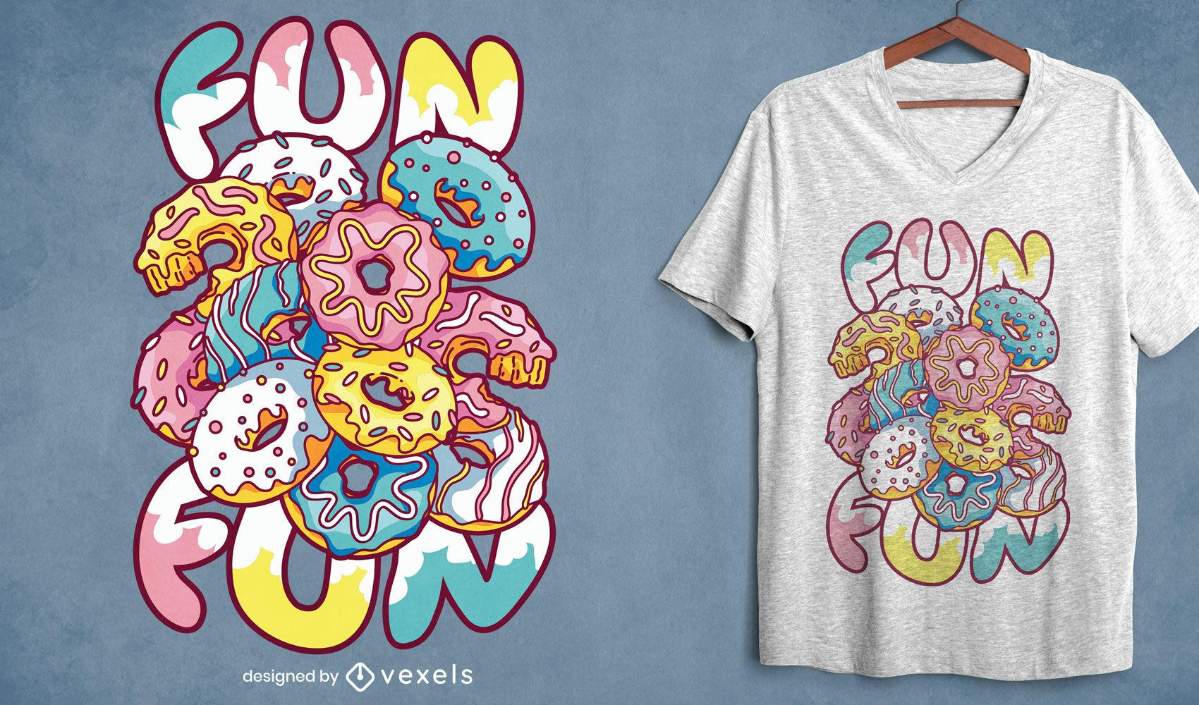 Design divertido de camisetas donuts