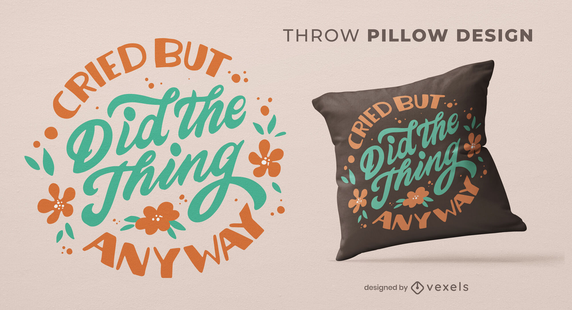 Empowering anxiety throw pillow design