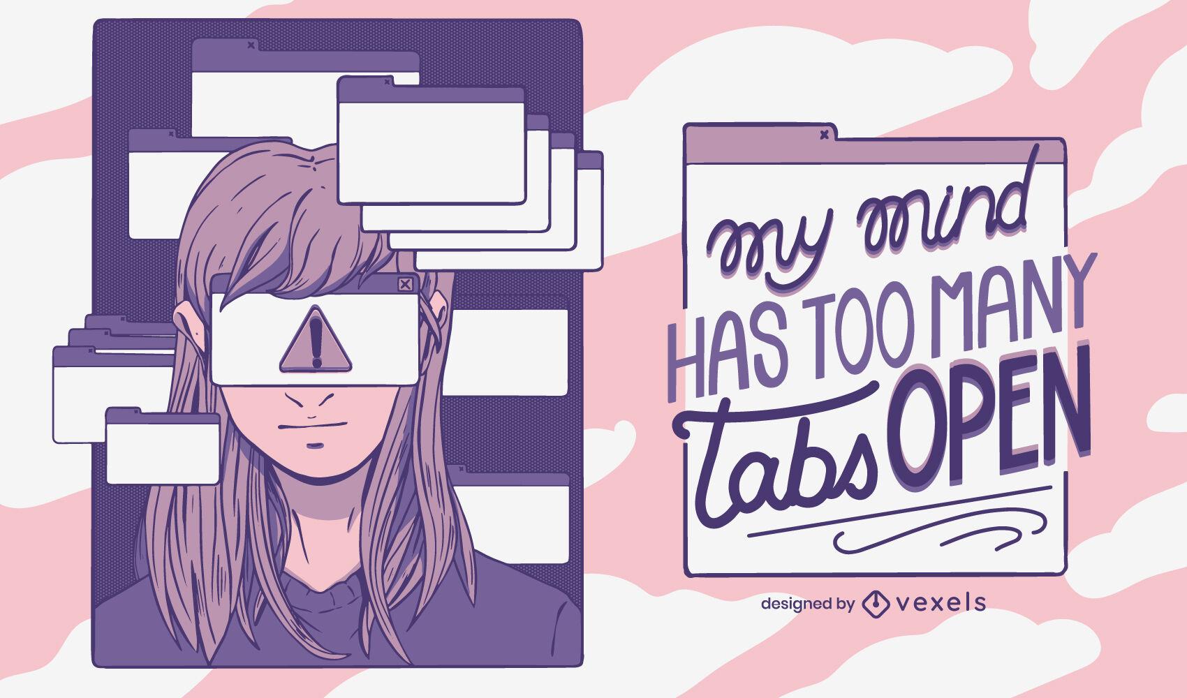 Ilustração engraçada de conscientização sobre TDAH