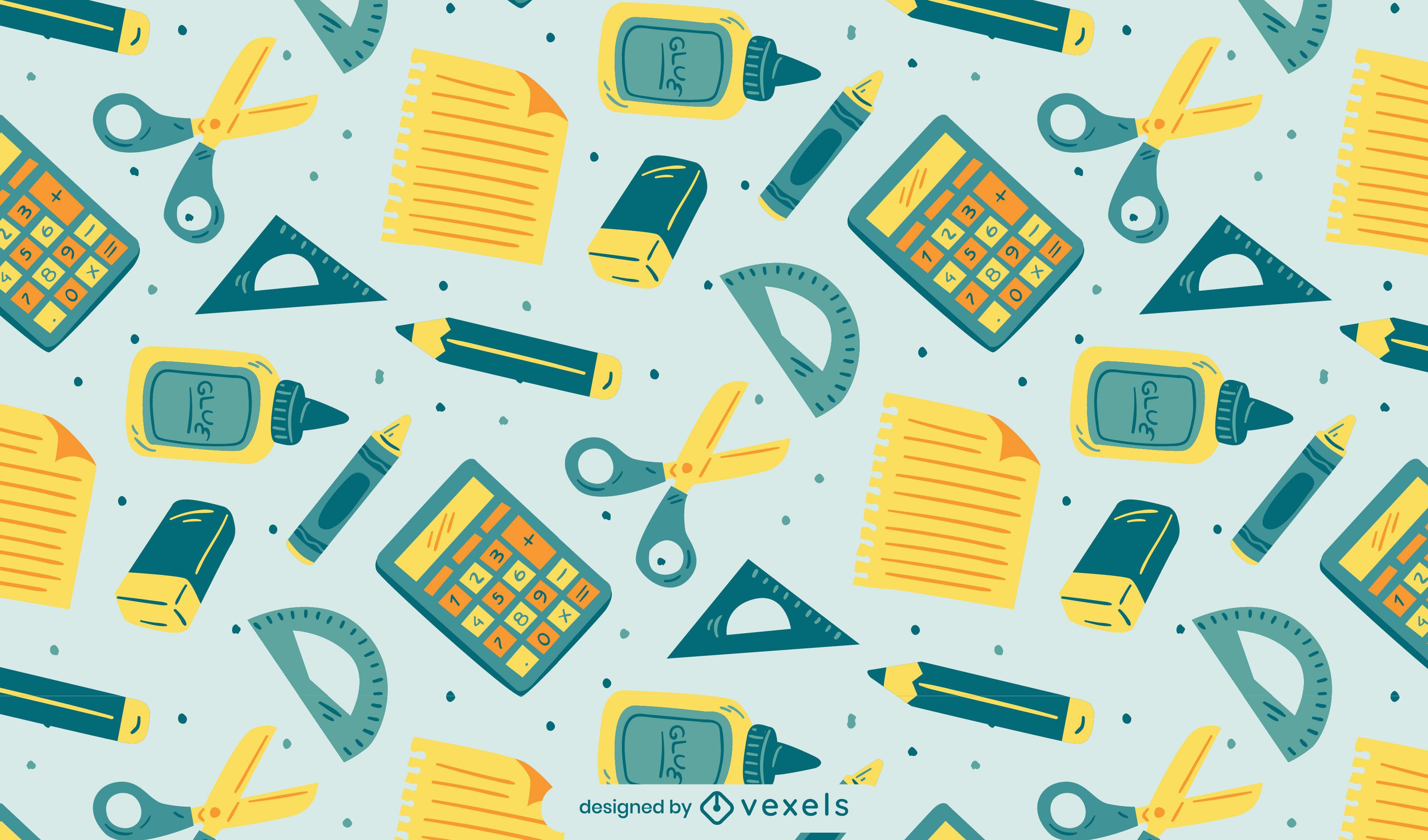 School supplies education pattern design