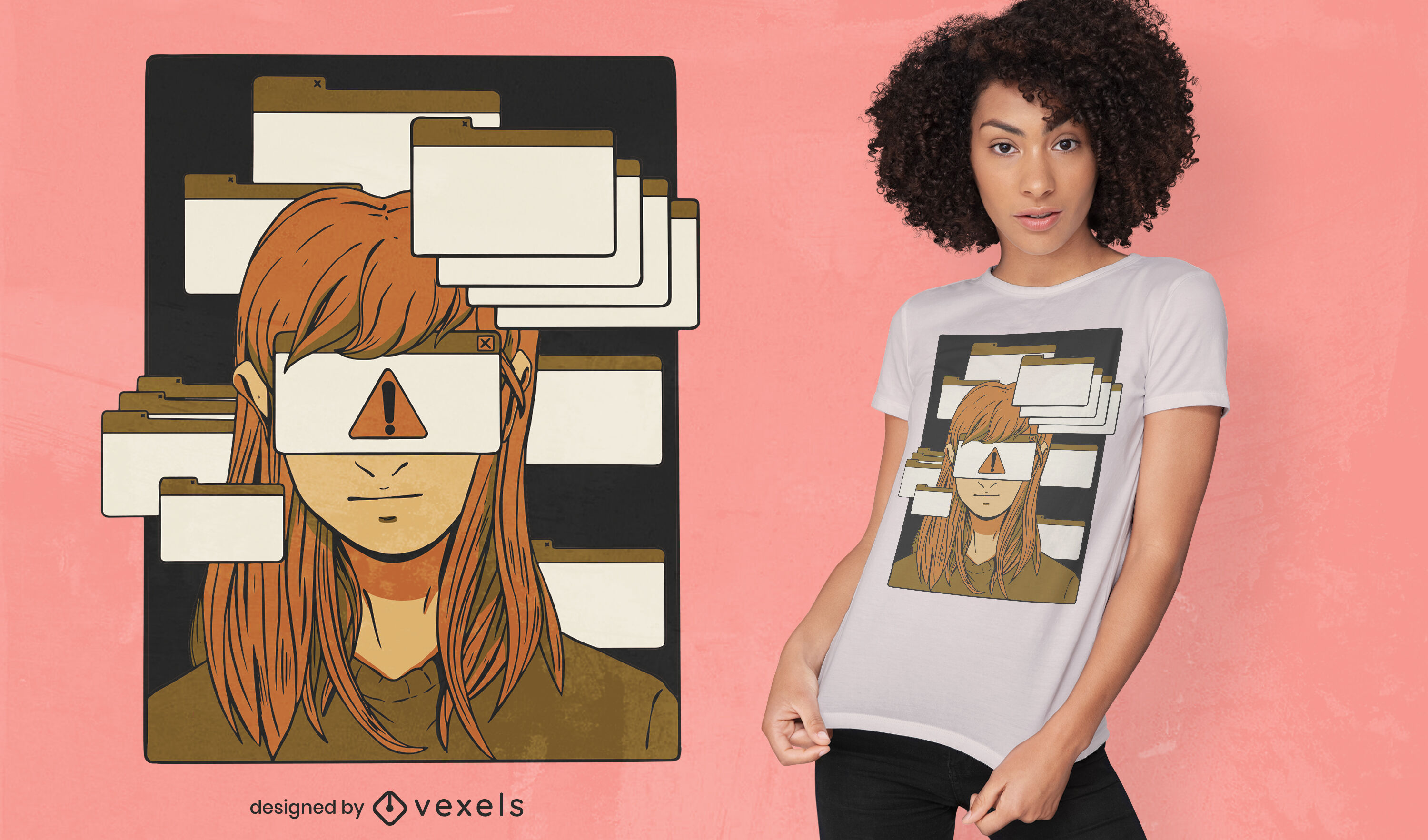 Woman with computer tabs t-shirt design
