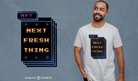 Diseño de camiseta retro con tecnología pixel art nft.