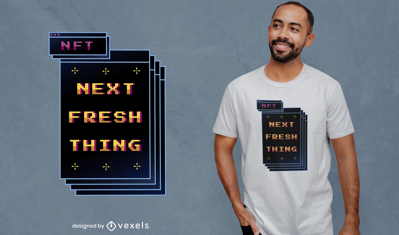Pixel art nft technology retro t-shirt design