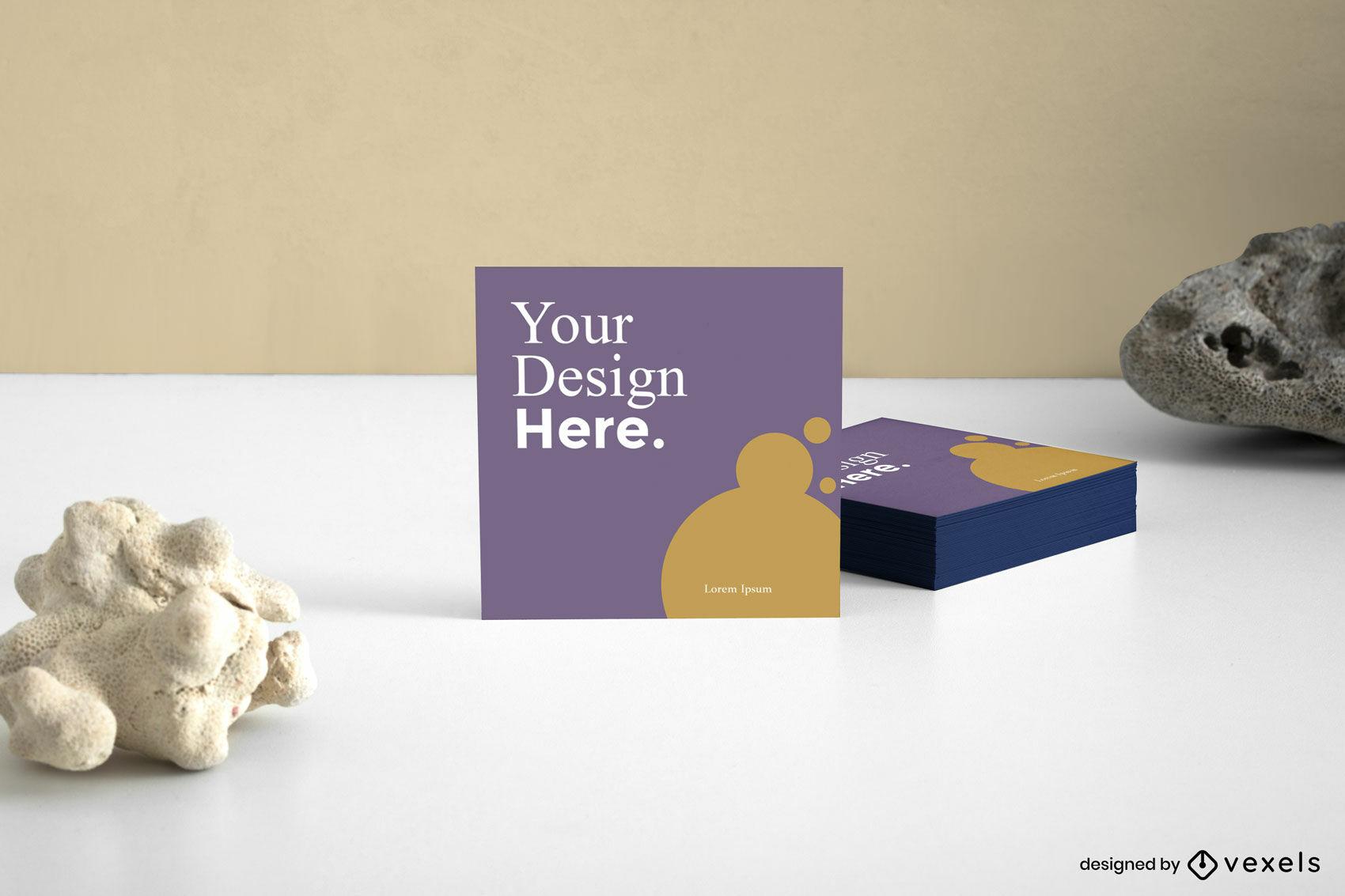 Square business card mockup design