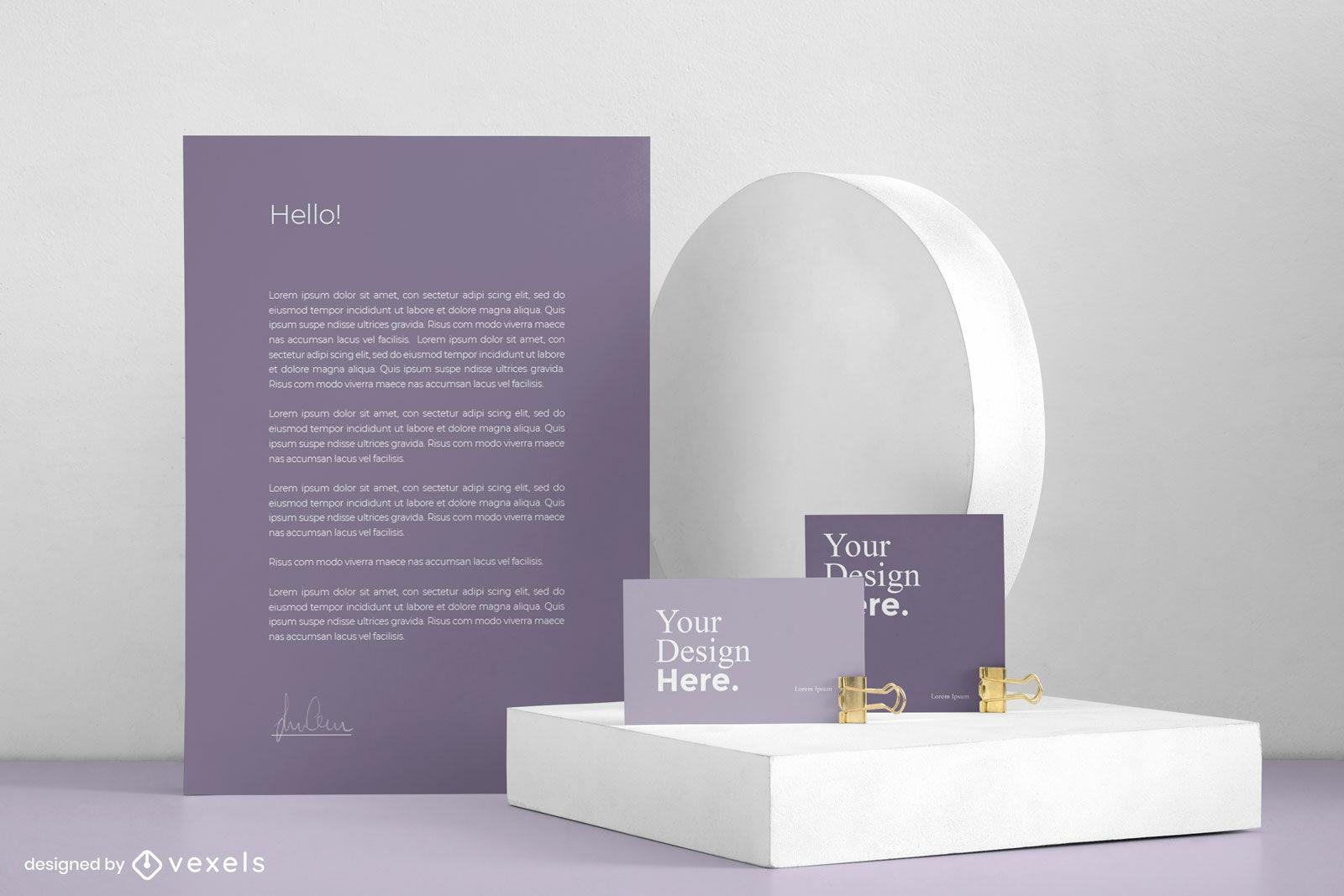 Stationäres lila Branding-Mockup-Design