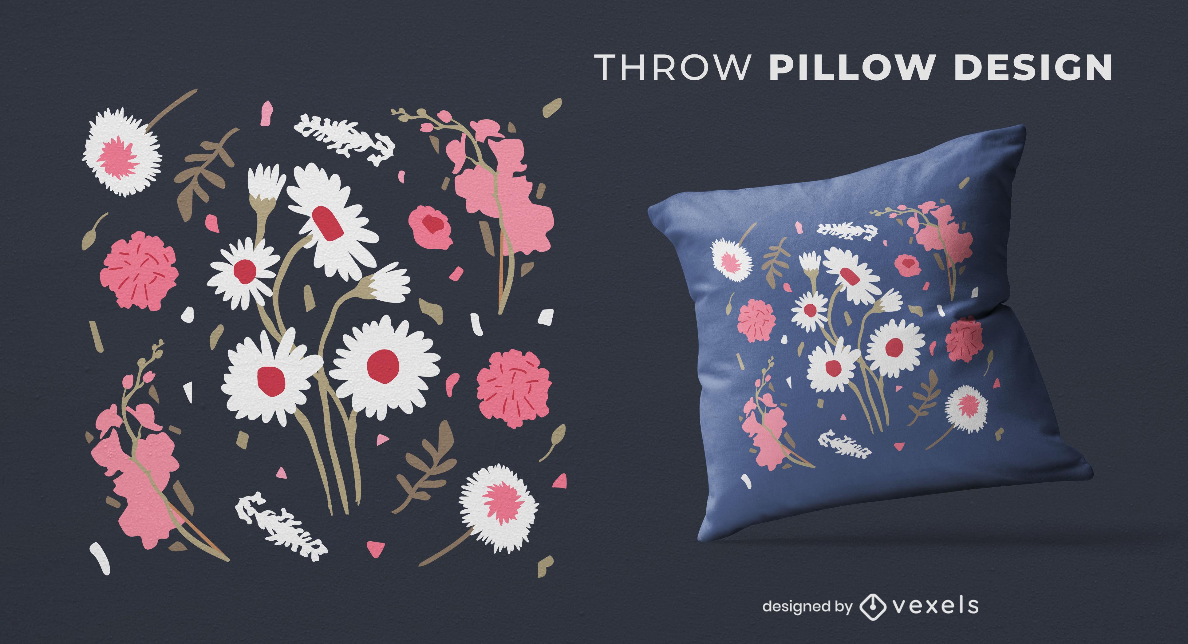 Design de travesseiro com flores de primavera