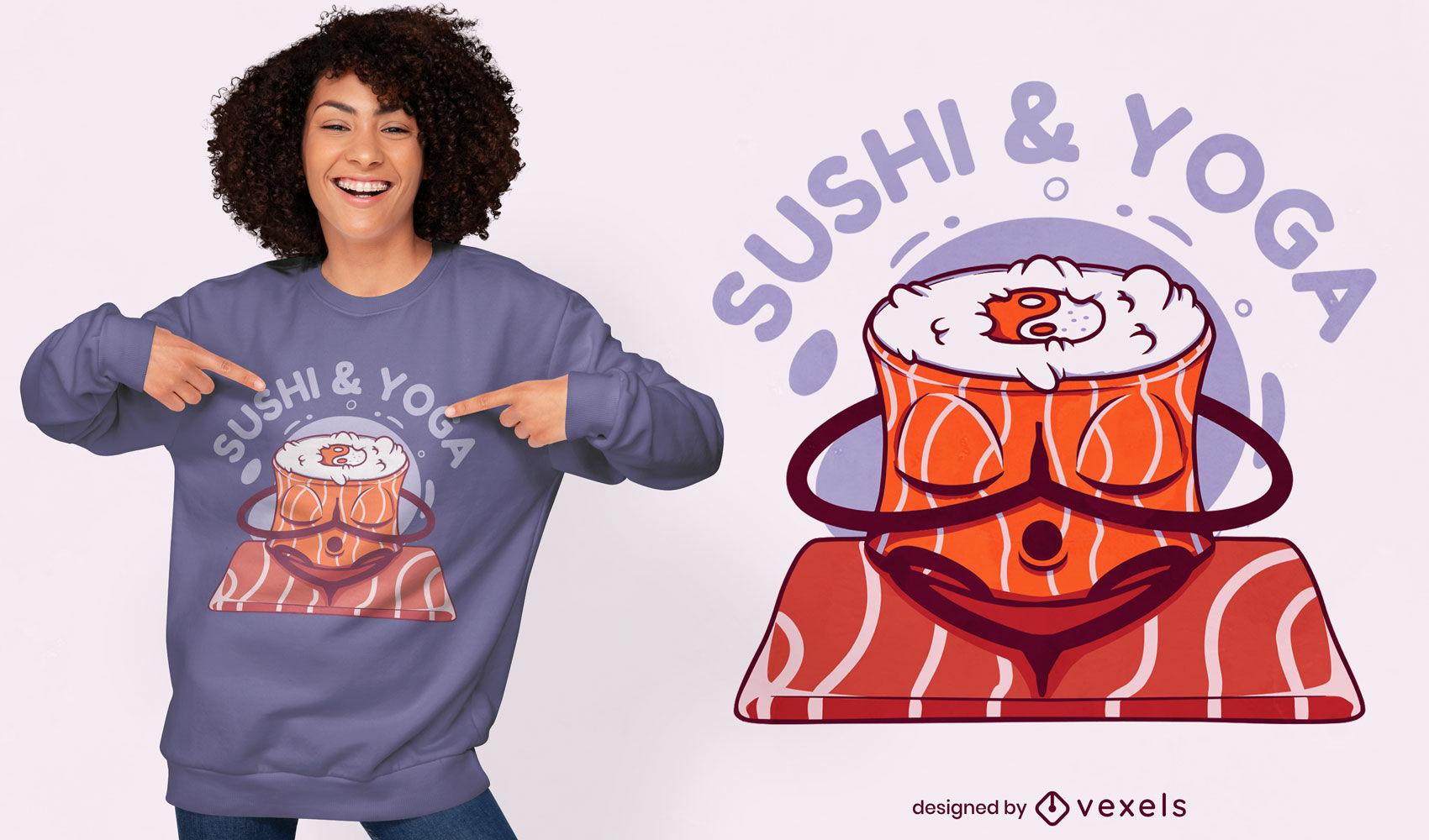 Dise?o de camiseta de sushi y yoga.