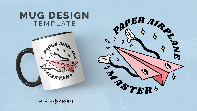 Paper airplane retro cartoon quote mug