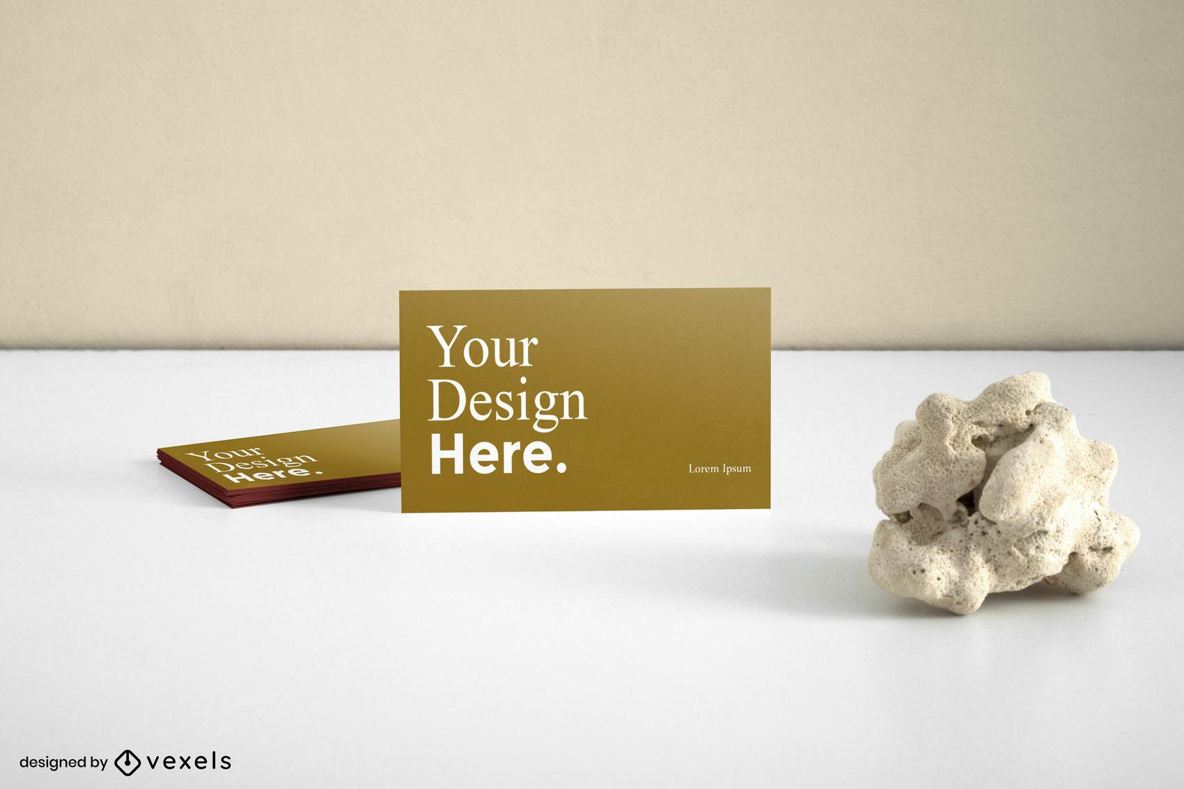Visitenkarten-Branding-Mockup in Braun