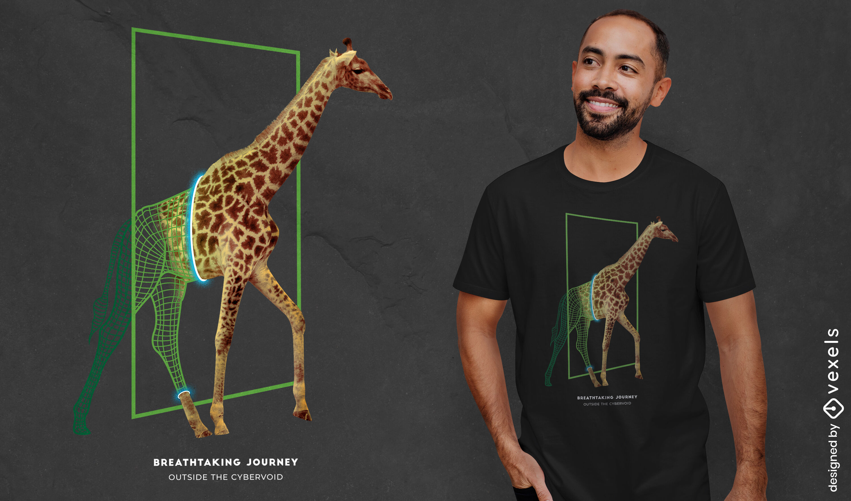 Camiseta jirafa portal de animales salvajes psd