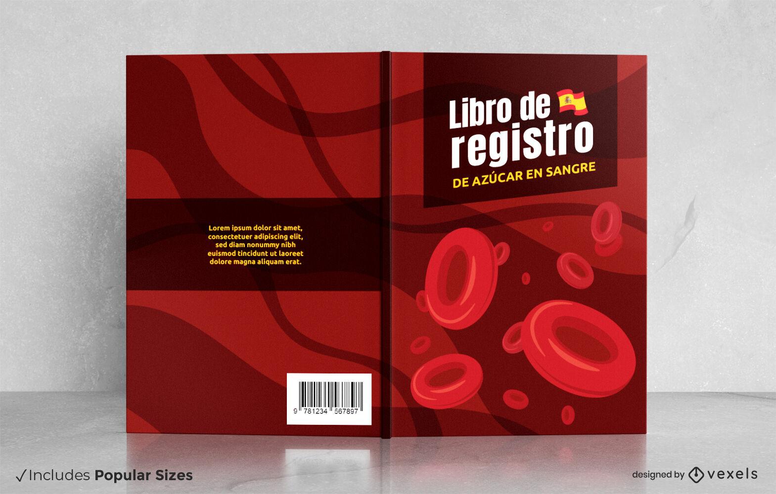 Gran diseño de portada de libro de registro de azúcar en sangre