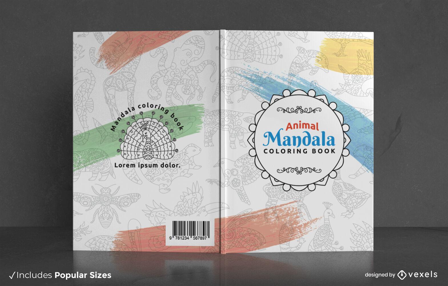 Diseño de portada de libro para colorear de mandala animal fresco