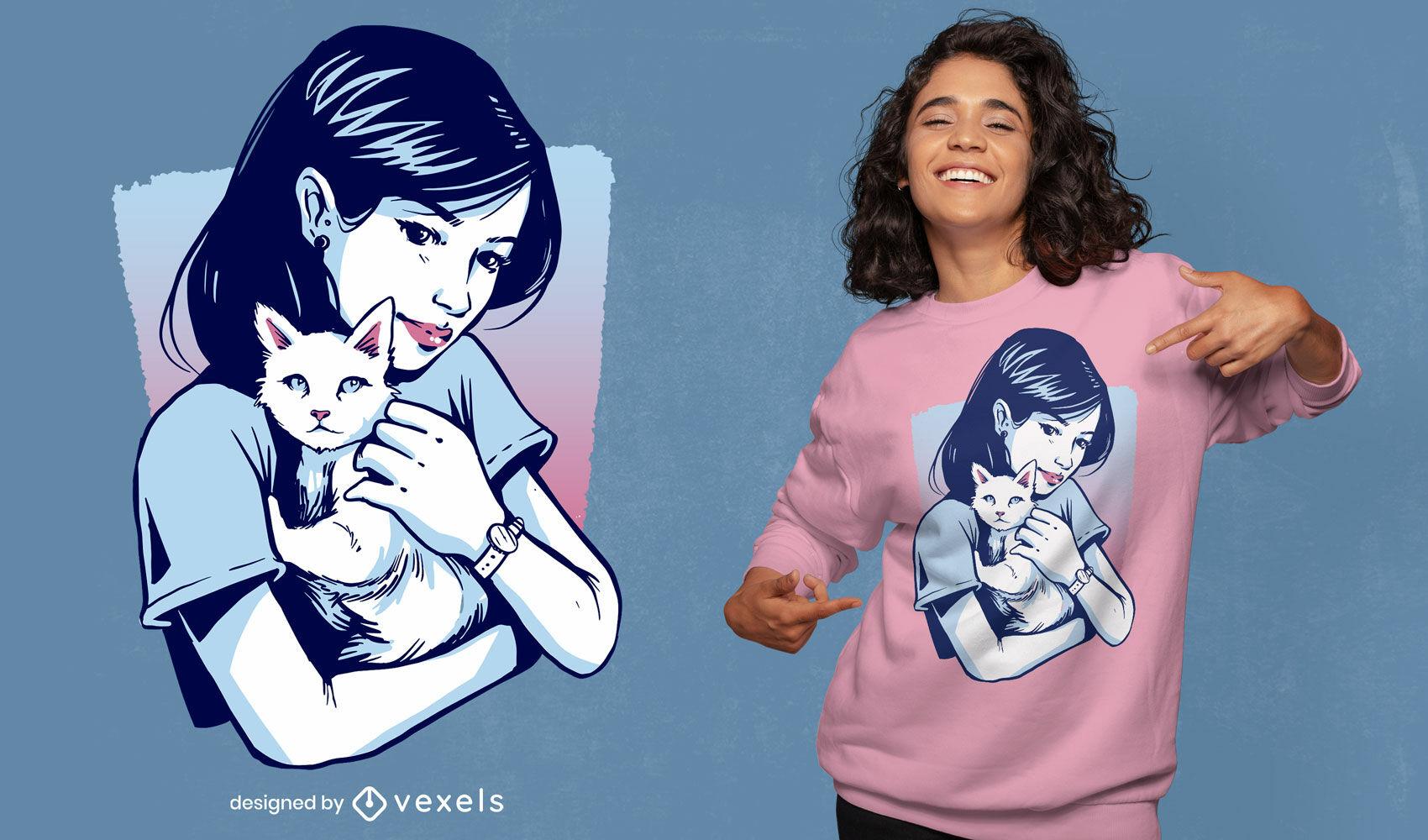Cute girl holding a cat t-shirt design