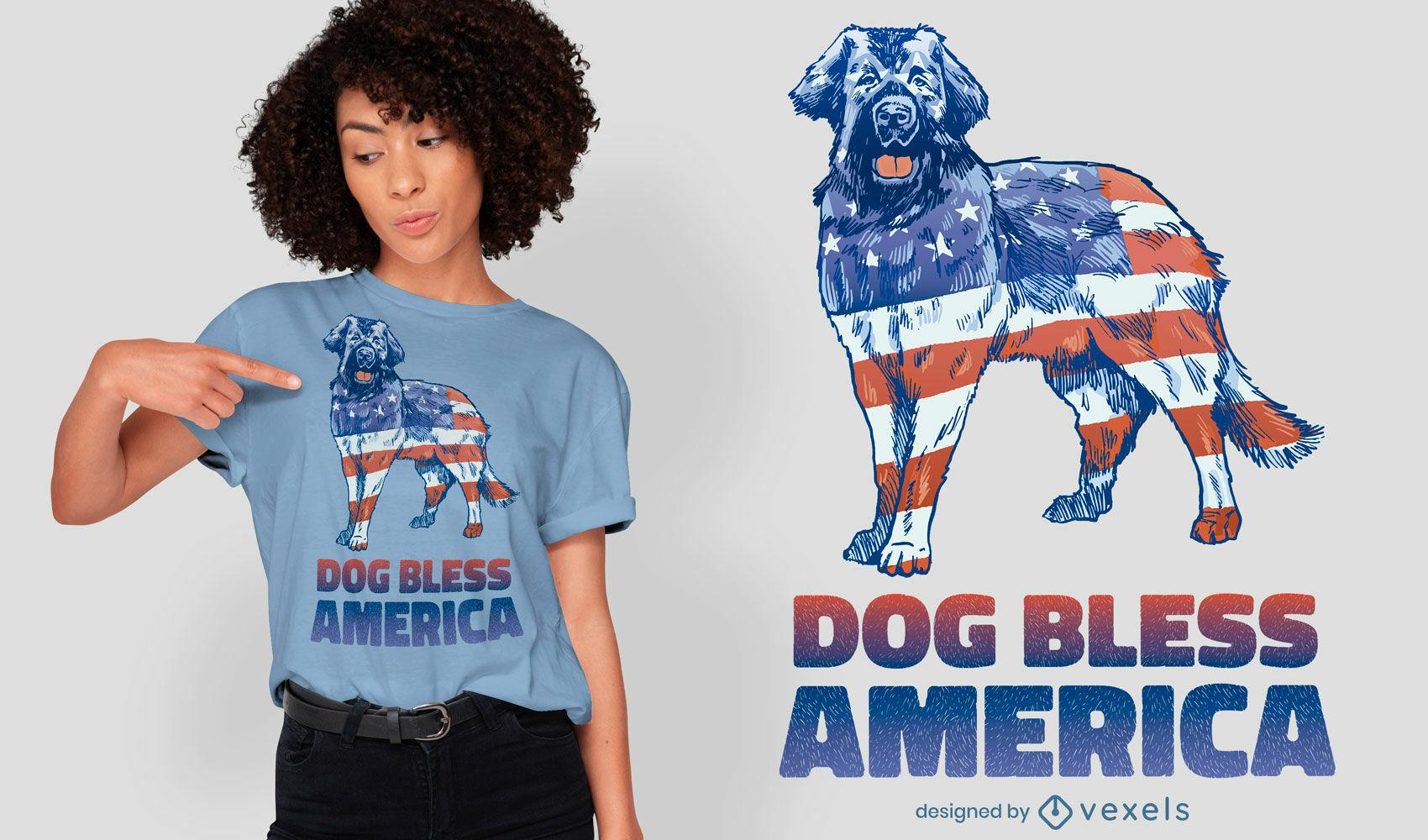American flag dog animal t-shirt design