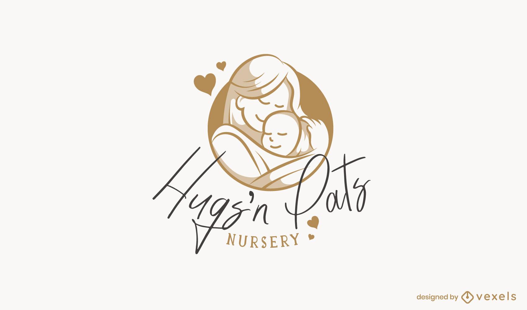 Kindergarten Kinderbetreuung Logo-Vorlage