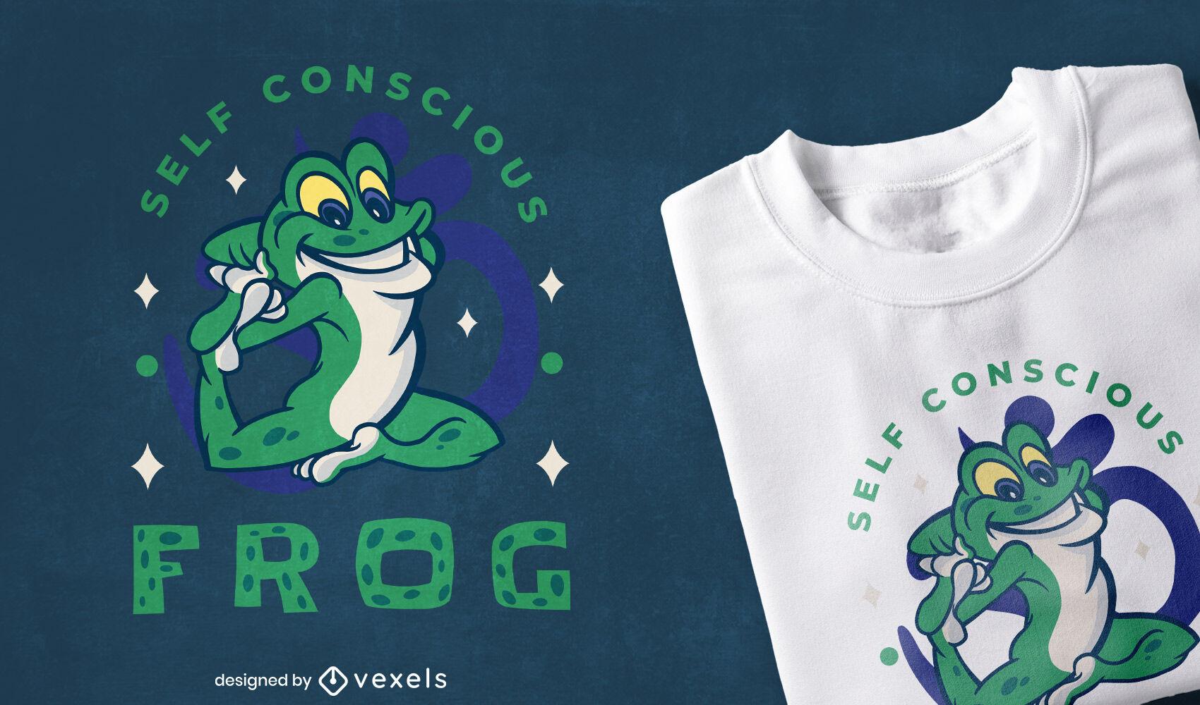 Design de t-shirt para pose de ioga de animal sapo