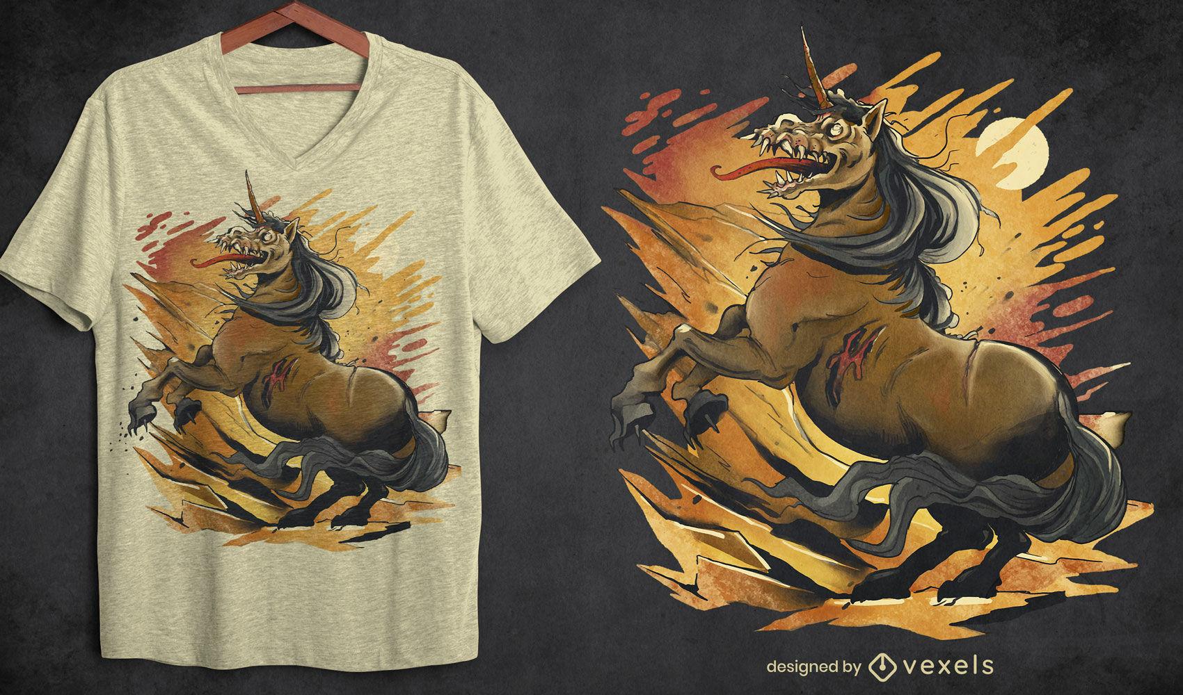 Camiseta monstruo unicornio zombie psd