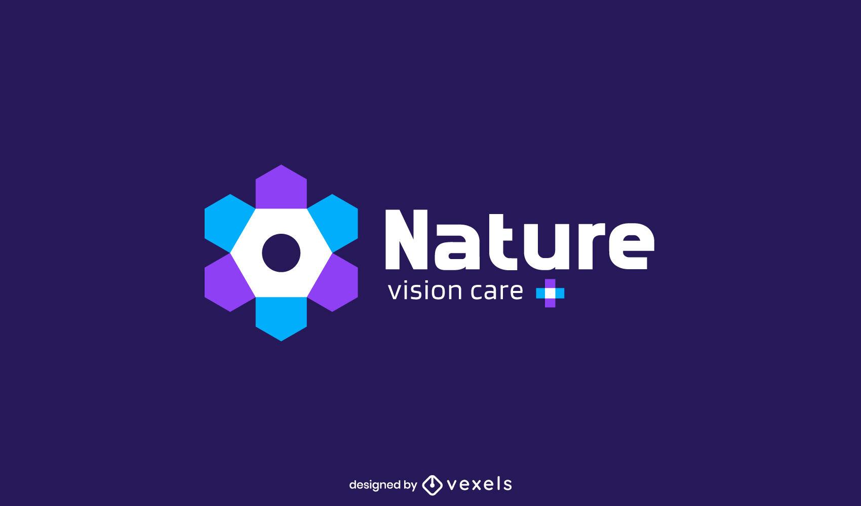 Plantilla de logotipo de cuidado de la vista de ojo de flor