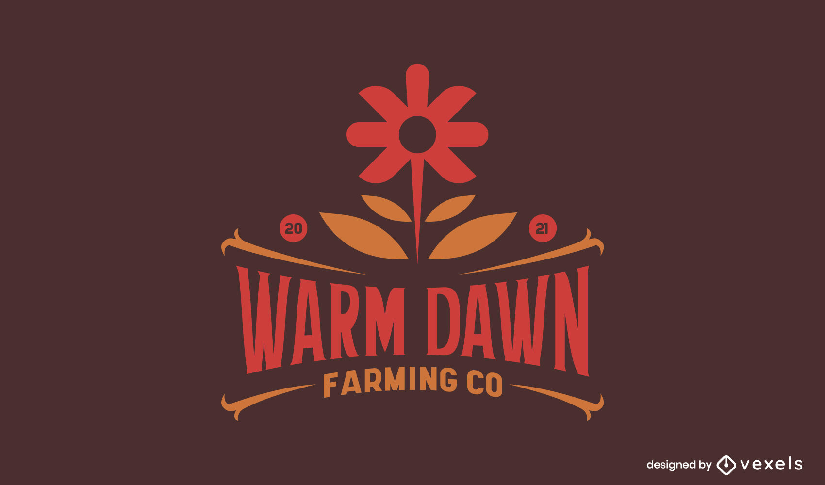 Landwirtschaftliche Blumen-Duoton-Logo-Vorlage