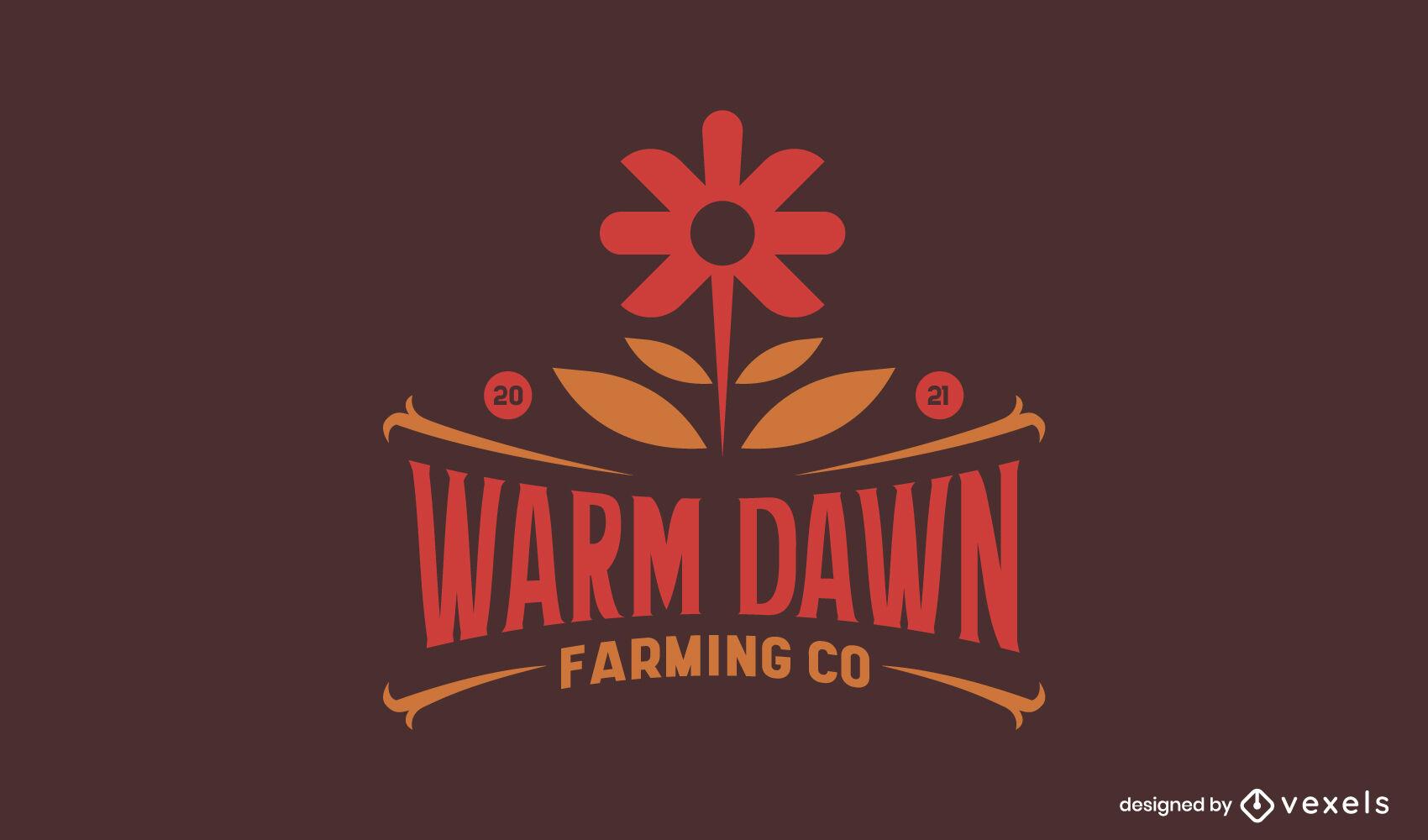 Modelo de logotipo duotônico de cultivo de flores