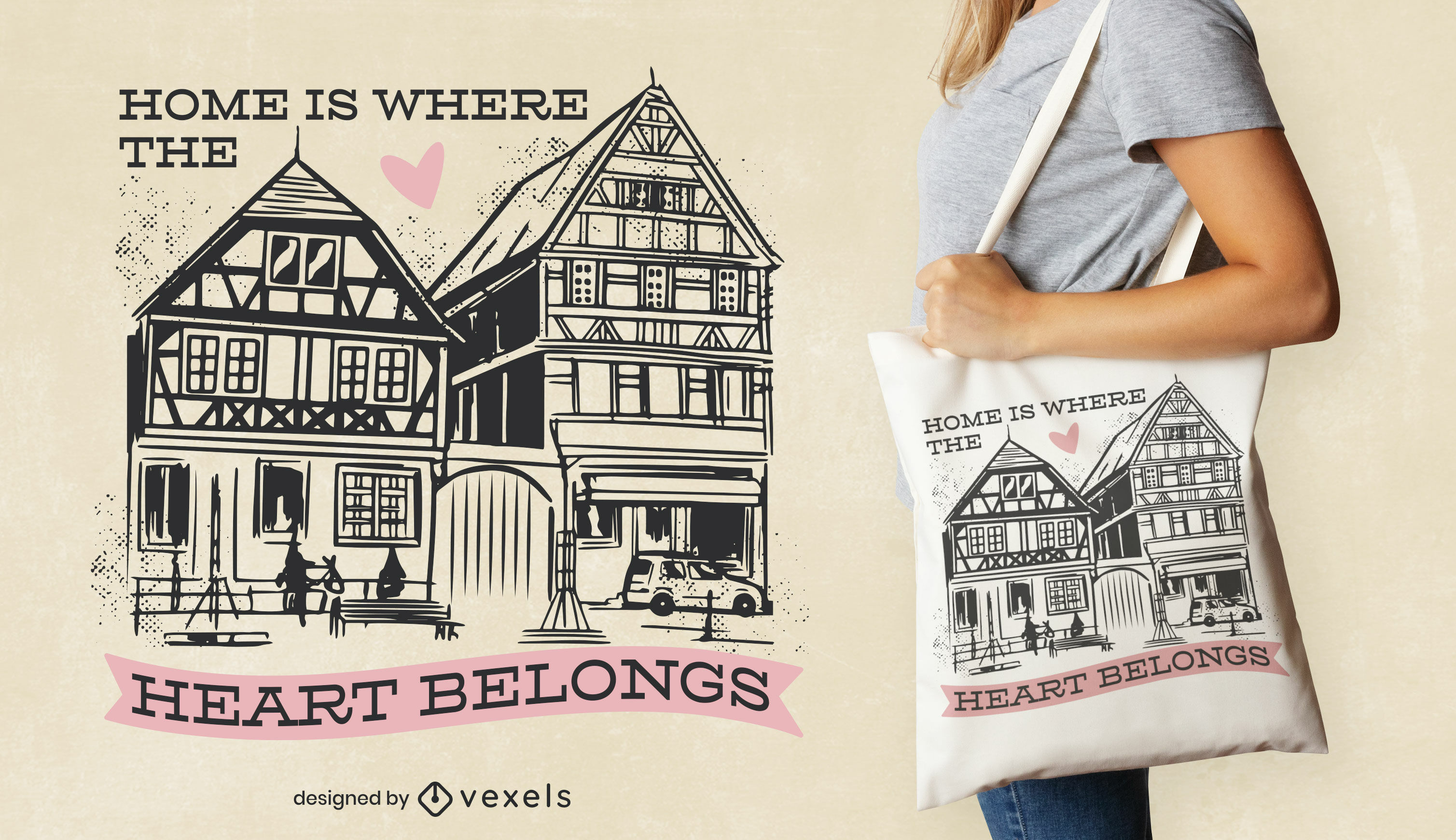 German town buildings tote bag design
