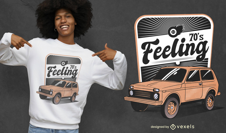 Diseño de camiseta de sentimiento de coche vintage.