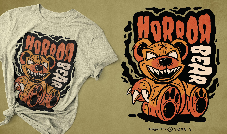 Dise?o de camiseta de juguete de terror de oso de peluche.