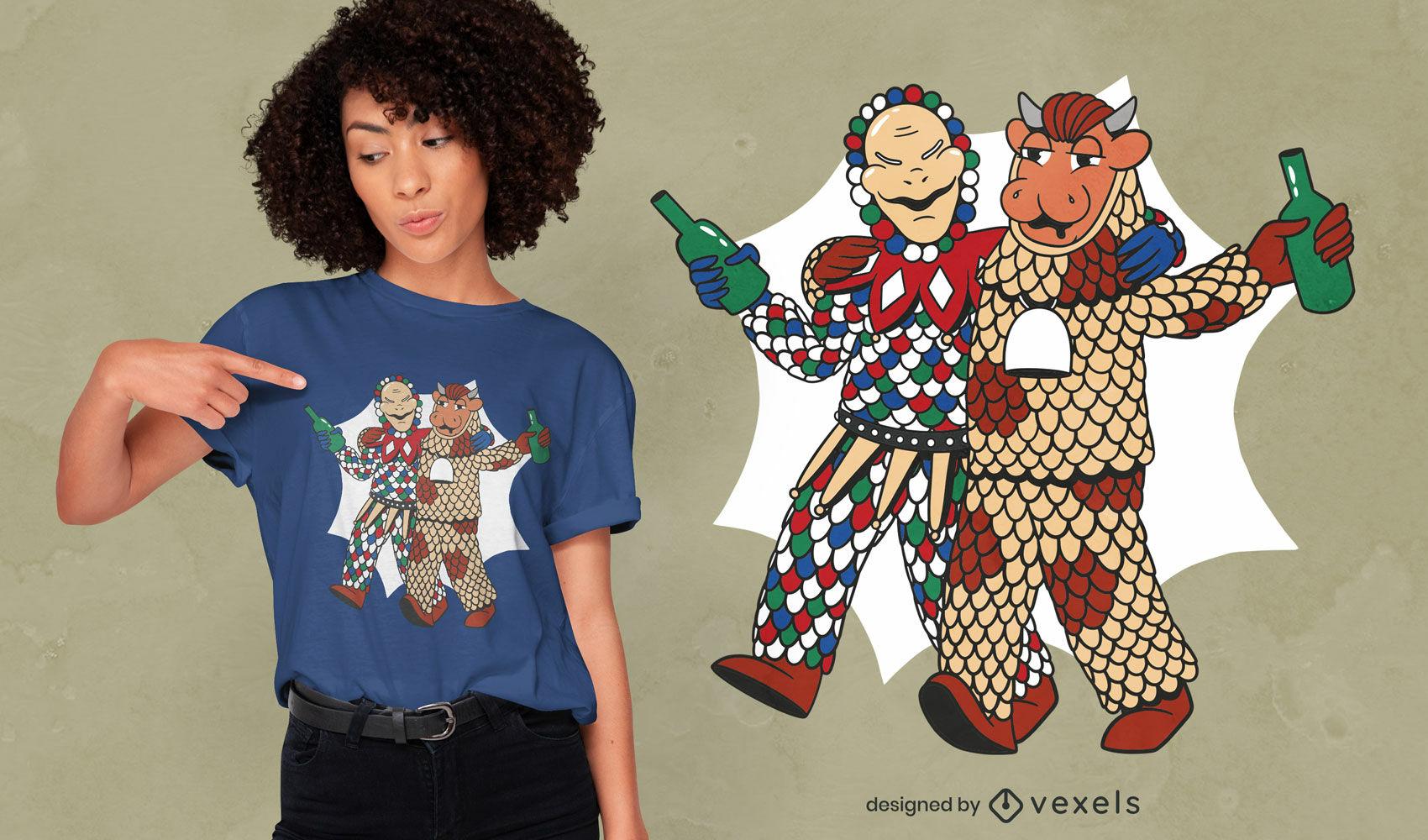 Diseño de camiseta de marionetas bebiendo