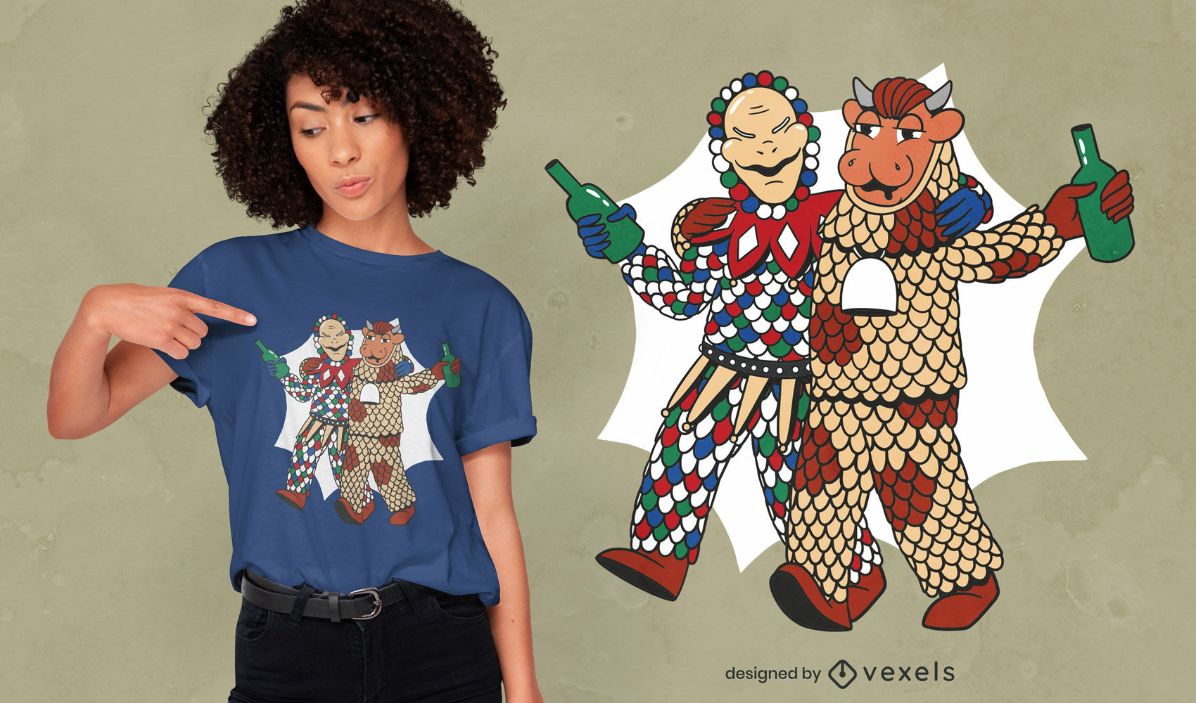 Drinking marionettes t-shirt design