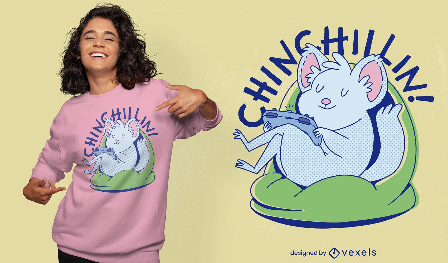 Cute chinchilla chilling t-shirt design