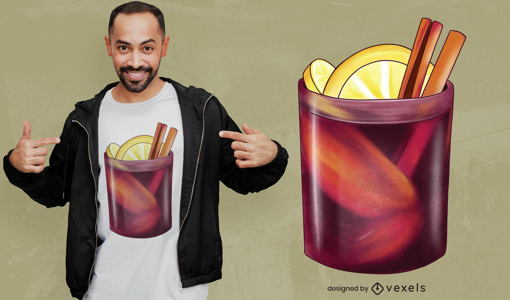 Diseño de camiseta de copa de vino caliente.